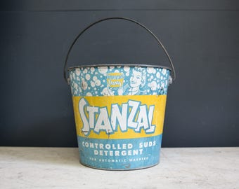 Vintage Tin Stanzal Detergent Bucket with Handle