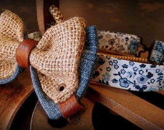 Bow tie, bow tie, vintage jeans leather and linen burlap