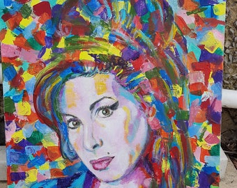 Amy Winehouse original unique abstract pop art style acrylic portrait painting
