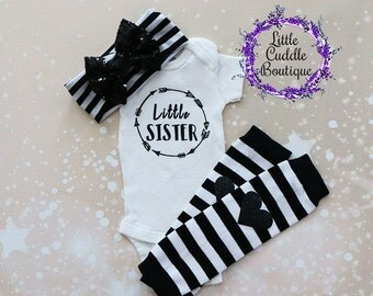 Little Sister Outfit, Sibling Outfit, Baby Leg Warmers, Little Sister Onesie, Coming Home Outfit, Little Sister Bodysuit, Little Sister