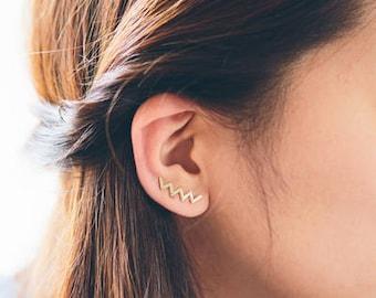 Zig Zag Ear Pin Earrings (2 colors)