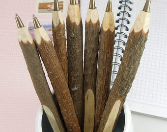 Twig Pen - 3/pack - Wooden Ballpoint Pen - Black Oil-based Ink - 0.7 mm