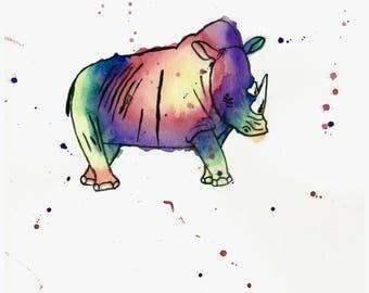 8 X 10 Rhinoceros Art Print | Wildlife Original Art | Kids Room | Nursery Decor | Baby Room Art | Rainbow Animal Art | Rhino Art Print