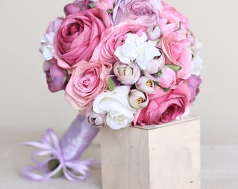 Silk Bridal Bouquet Pink Lavender Purple Roses Rustic Chic Wedding (1014)