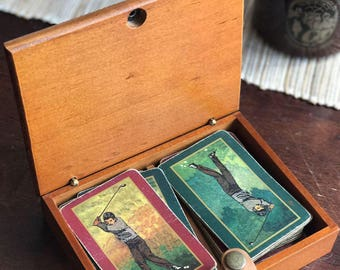 Vintage Golf Playing Cards with Box