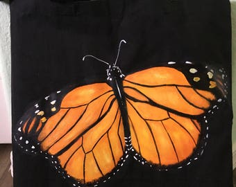Orange Glittery Butterfly Tote