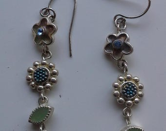 Silver and blue flower drop earrings