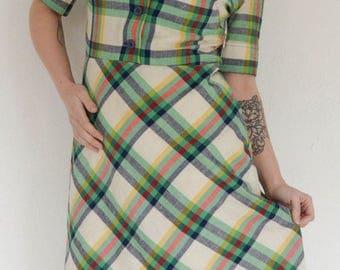 Vintage green plaid collared dress