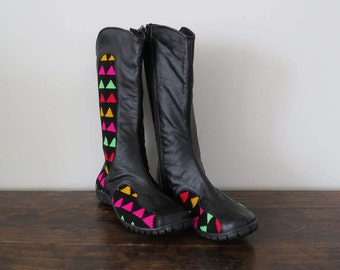 Womens Boots Size 36, Black Leather Boots, Handmade Wayuu Boots
