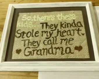 Burlap sign- grandma