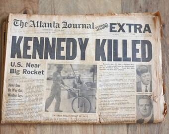 Kennedy Assassination Newspaper John Fitzgerald Kennedy JFK Assassination