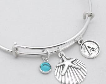 Sand dollar vintage initial charm bracelet | sand dollar bangle | personalised sand dollar bracelet | sand dollar jewelry | sand dollar gift