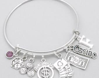 Casino theme charm bracelet   casino bracelet   casino jewelry   casino gift   Vegas bracelet   Vegas jewelry   Vegas gift