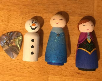 Peg Dolls, wooden toys, Frozen Peg Dolls