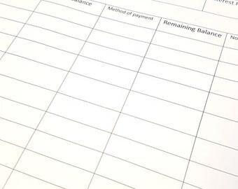 Debt Payment Sheet Binder Budgeting Sheets