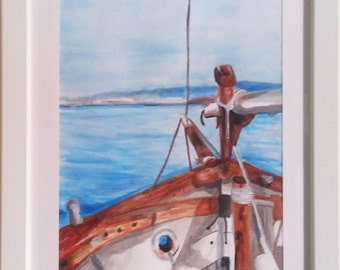 Boat on the sea-drawing on paper-watercolor and acrylic on cardboard-framed piece-drawing and watercolor acrylic sea