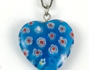 Blue Millefiori Heart Pendant / Necklace, 925 Silver Chain, Signed Italy