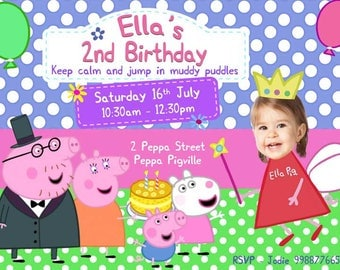 Peppa Pig Birthday Invitation, Peppa Pig Invitation, Peppa Invitation, Peppa Pig Birthday Party, Peppa pig party, Personalized Photo invite