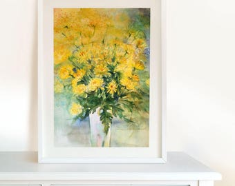 Yellow Сhrysanthemum Wall Art - Original Watercolour Painting, Floral Painting. Home Decor