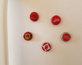 FREE SHIPPING — (set of 5) Assorted Red Bottle Cap Magnets