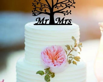 Mr & Mrs Wedding Cake Topper /tree Wedding Cake Topper /Personalized Bride And Groom Cake Topper/Cake decor