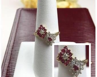 "The ""Victoria"": 14K Ruby, Diamond Floral or Flower Ring - 14K Yellow Gold, Genuine Ruby, Genuine Diamond, Fine Jewelry"