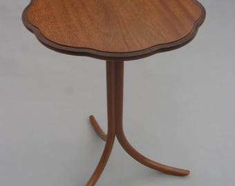 Solid Mahogany Round Side Table with Bent Laminated Legs and Carved Edge Top for Home