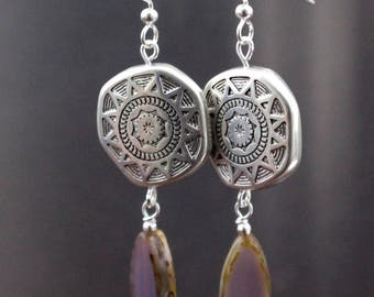 Silver Sun Earrings With Purple