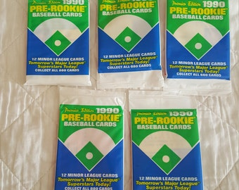 Lot of 5 1990 Pre Rookie Unopened Baseball Card Packs