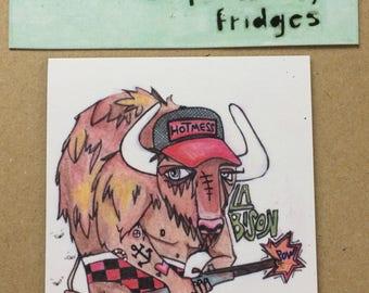 Magnets For Lonely Fridges, Bison,  Magnets, Aimants, Buffalo, art, illustration,Madeleine Marin Craig