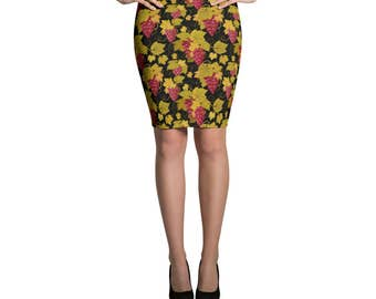 Skirt Grapes Vineyard Wine Tasting Pencil or Mini Skirt Womans Skirts Printed Fashion Bottoms Crazy Unique Outfit Stretch Printed Fabric