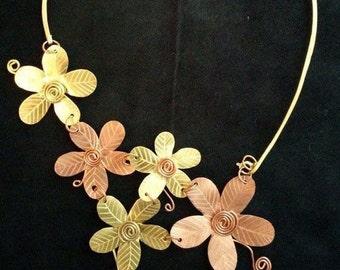Copper Flowers Necklace