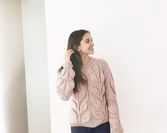 Hand knit sweater spring sweater bohemian sweater women cable knit sweater peach pink sweater chunky knit pullover bulky hand knit sweater