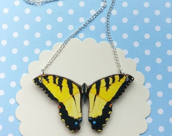 Butterfly necklace butterfly jewelry yellow butterfly bib necklace butterfly jewellery butterfly gift yellow butterfly necklace