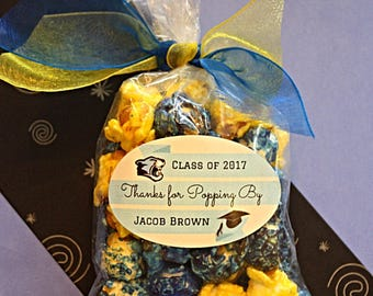 18 Class Color Popcorn Personalized Graduation Party favors- Thanks For Popping By- Handmade Gourmet Popcorn- Graduation Open House