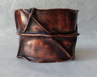 Fold formed copper cuff bracelet, wide copper cuff bracelet, forged cuff bracelet, foldformed copper cuff