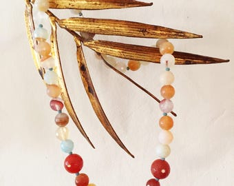 Carnelian and Quartz Necklace