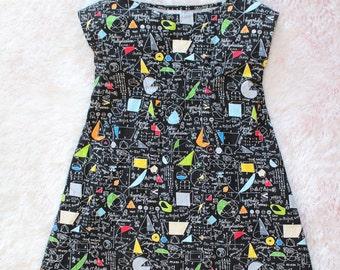 science dress, tunic dress, little girl, science gift, math dress