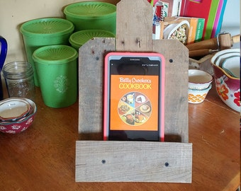 Rustic reclaimed wood tablet/recipe stand