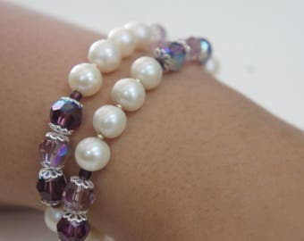 Freshwater Pearl (White) & Swarovski Crystal (Purple/ Lavender) Necklace/ Bracelet
