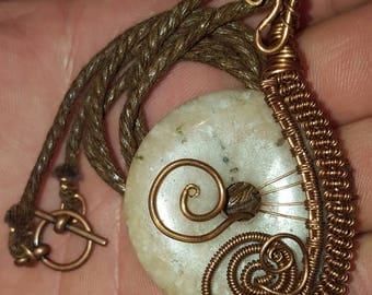 copper wire wrapped circular stone