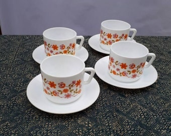 Reduced!!  Four arcopal cups and saucers