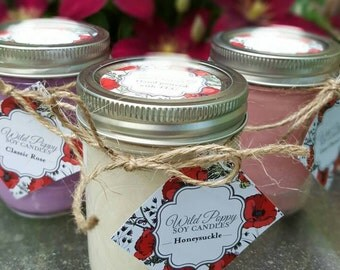 Buy 2 get 1 free! 100% Soy candles/ Hand poured/ natural soy/ mason jar/candle/ Sweetpea scent/ Gift/ For her/ Housewarming/home decor