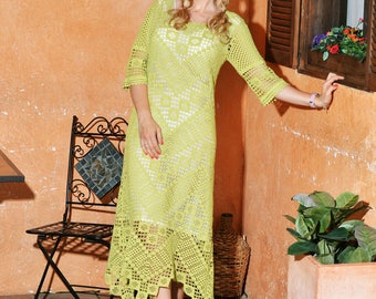 DELILAH hand-crocheted summer holiday beach lace dress from cotton. Made to order