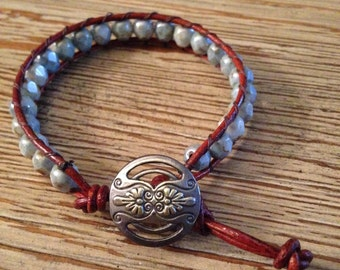 Leather wrap, beaded bracelet
