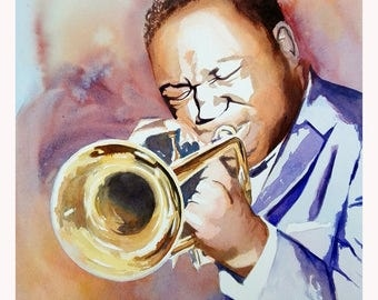 Watercolor Painting Jazz Musician - Herman Leonard