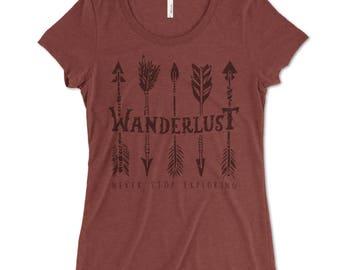 WANDERLUST- Never Stop Exploring - t-shirt for women