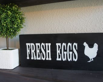 Black and White Fresh Eggs Chicken Kitchen Rustic Wooden Sign