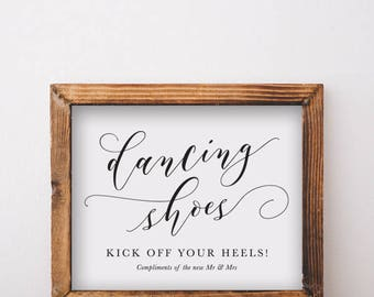 Dancing Shoes Sign - Dancing Feet Wedding Sign - Instant Download