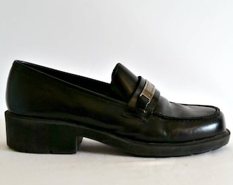 Vintage 90s Grunge Black Leather Chunk Heel Loafers Esprit - Size 5, 1990s Soft Softgrunge, Heeled Silver, Valley Girl Clueless, Loafer